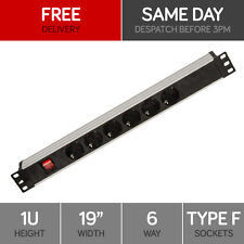 "Linxcom 6 Port/Way Power Strip PDU Schuko Plug & Socket- 1U 19"" Rack Mount"