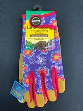 MG86212-WML Miracle-Gro Womens Purple/Tan Leather Garden Gloves Pruning Mulching