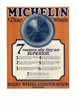 VINTAGE 1920 MICHELIN DISC WHEELS BUDD WHEEL CORP. SUPERIOR RUBBER AD PRINT