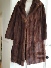 Real Fur Mink Brown Coat Unbranded Size 10/12 Glossy