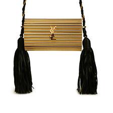 RARE NEW SAINT LAURENT OPIUM BOX Shoulder Bag Gold and Black Leather Tassels
