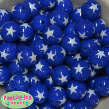 20mm Royal Blue with White Star Resin Chunky Bubblegum Beads 20pc