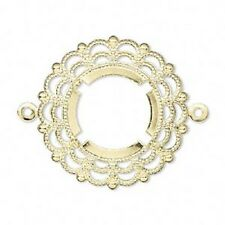 Cab Setting Bezel Filigree Link Gold Brass Round, 18mm, 6 Qty