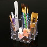 5 Compartment Storage Box Organizer For Nail Art Makeup Brush File Tool Organize