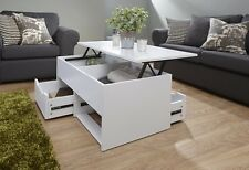 White Coffee Table Storage Unit 2 Drawer Lift Up Top Mechanism Occasional Table