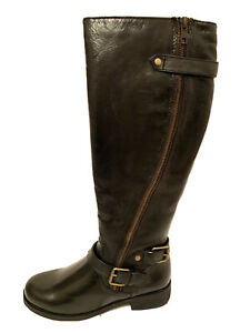 Steve Madden Womens Synicle Black Leather Knee High Buckle Zipper Riding Boots 7