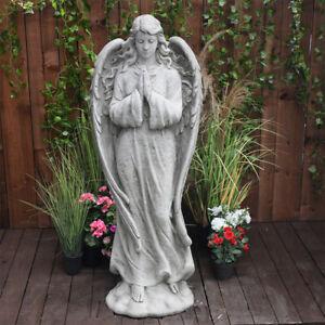 Large Guardian Angel Memorial Stone Cast Statue Grave Ornament 86KGS