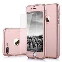 For iPhone 5s 360° Full Hybrid Hard Rose Gold Case Cover With Tempered Glass