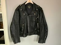 VINTAGE 1980's LEATHER BRANDO MOTORCYCLE JACKET SIZE 44 / UK L