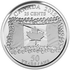 CANADA 2015 New 25 cents 50th Ann of Canadian Flag (BU directly from mint roll)