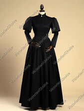 Victorian Gothic Black Dress Steampunk Wicked Witch Halloween Costume N 006 XXL