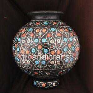 12 Inches Marble Planter Floral Design Decorative Flower Vase Decorative Gift