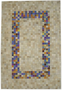Modern Design Small Leather Rug 4X6 Patchwork Floor Cover Contemporary Carpet