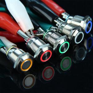 12mm ON/OFF LED Car Metal Button Switch 3V 5V 9V 12V 24V 110V 220V Waterproof UK
