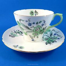 Green and Blue Floral Shelley Tea Cup and Saucer Set