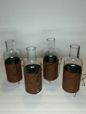 "10"" Decorative Faux Leather Wrapped Bottles Set Of 4"