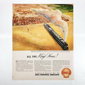 1946 Shell Oil Ad Pennsylvania Railroad Industrial Lubricants Horsepower PRR