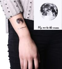 Flash Einmal Temporary Klebe Tattoo Mond Fly me to Schwarz Party Geschenk Strand