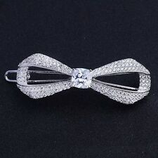 USA Hair Clip use Swarovski Crystal Hairpin barrette Wedding Bow Silver 2.16""