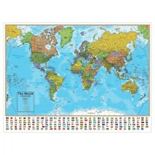 Laminated World Map with Flags