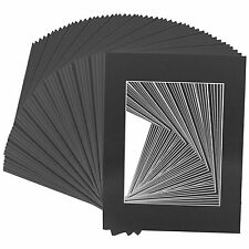 Set of 200 8x10 BLACK White Core mats for 5x7 Photos +Backing + Bags