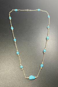 925 Italy Sterling Silver Turquoise Beaded Chain Link Necklace