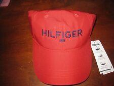 NWT MENS TOMMY HILFIGER LOGO MCCAULEY LOGO BASEBALL CAP RED ONE SIZE FITS ALL