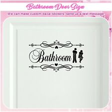 Bathroom Restroom Toilet Door Sign Art Vinyl Home Decor Wall Sticker Decal S155
