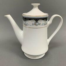 Porcelain Tea Coffee Pot White Black Floral Gold Trim