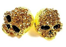 UNISEX GOLD SKULL RING SIZE 9 CRYSTAL COSTUME JEWELRY ROCKER PUNK GOTH BIKER