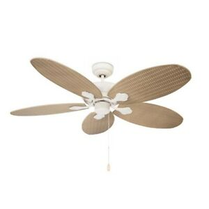Outdoor Ceiling Fan Phuket White 132cm with Pull Chain and Rattan Blades