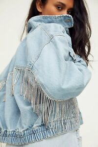 FREE PEOPLE Comet Blue Denim Bomber Rhinestone Fringe Jacket Meteor Wash XL $228