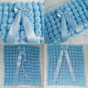 Luxurious Thick Pom Pom Blanket In Blue & White Mix Blanket Baby Boy Blue