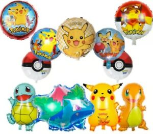 Pokemon Pikachu Charmander Squirtle Helium Birthday Balloons Large Age Number