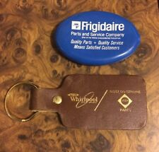 2 Vintage Appliance Collectible Items Frigidaire Coin Purse + Whirlpool Keychain