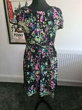 Lady Vintage Estilo de té de Londres V Vestido Floral Negro 16 50s Festival Hippy