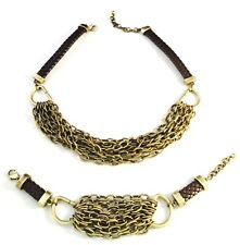 Designer Statement Necklace Bracelet Leather Brass Links Premier Urban Chic 12O