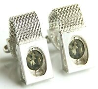 Swank Mesh Strap Wrap Around Faceted Cut Glass Vtg Cuff Links