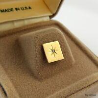 Vintage Tie Pin Tack Square Star Design Genuine Diamond in Gift Box