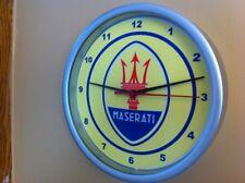 Maserati Motors Auto Garage Man Cave Advertising Silver Wall Clock Sign