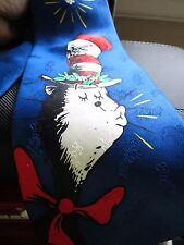 "MEN'S NOVELTY NECK TIE DR SEUSS 100% SILK CAT IN THE HAT 59"" PRE-OWNED VGC"