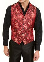 Tallia Mens Suit Vest Red Size 40 R Qipao Satin Jacquard Dragon Print $125 071