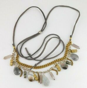 Silpada Sterling Silver Agate Brass Pyrite COURTYARD CHIC Suede Necklace N3243