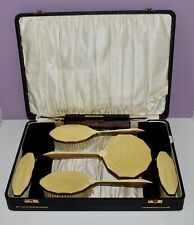 Magnificent! Antique Silver Yellow *Enamel Guilloche* 6 Piece Dresser Vanity Set