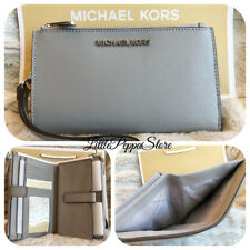 NWT MICHAEL KORS SAFFIANO LEATHER JET SET TRAVEL DOUBLE ZIP WALLET IN ASH GREY