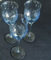 "ROYAL PIERPONT-BLUE by Noritake WATER GOBLET GLASSES 9 1/4"" Tall Set of 3"