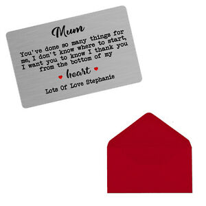 Personalised Mother's Day Birthday Metal Sentimental Wallet Purse Gift Card