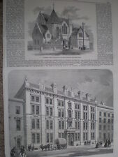 Uffici e di vendita-stanze di macinatura Lane città di Londra 1860 Old print