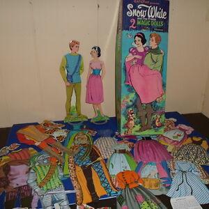 1967 Whitman SNOW WHITE &THE PRINCE 2 Magic Stay-On PAPER DOLLS &BOX~Walt DISNEY
