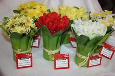 """Mixed Lot of 18 Ashland 7"""" Artificial Floral Centerpieces Tulips Daffodils Daisy"""
